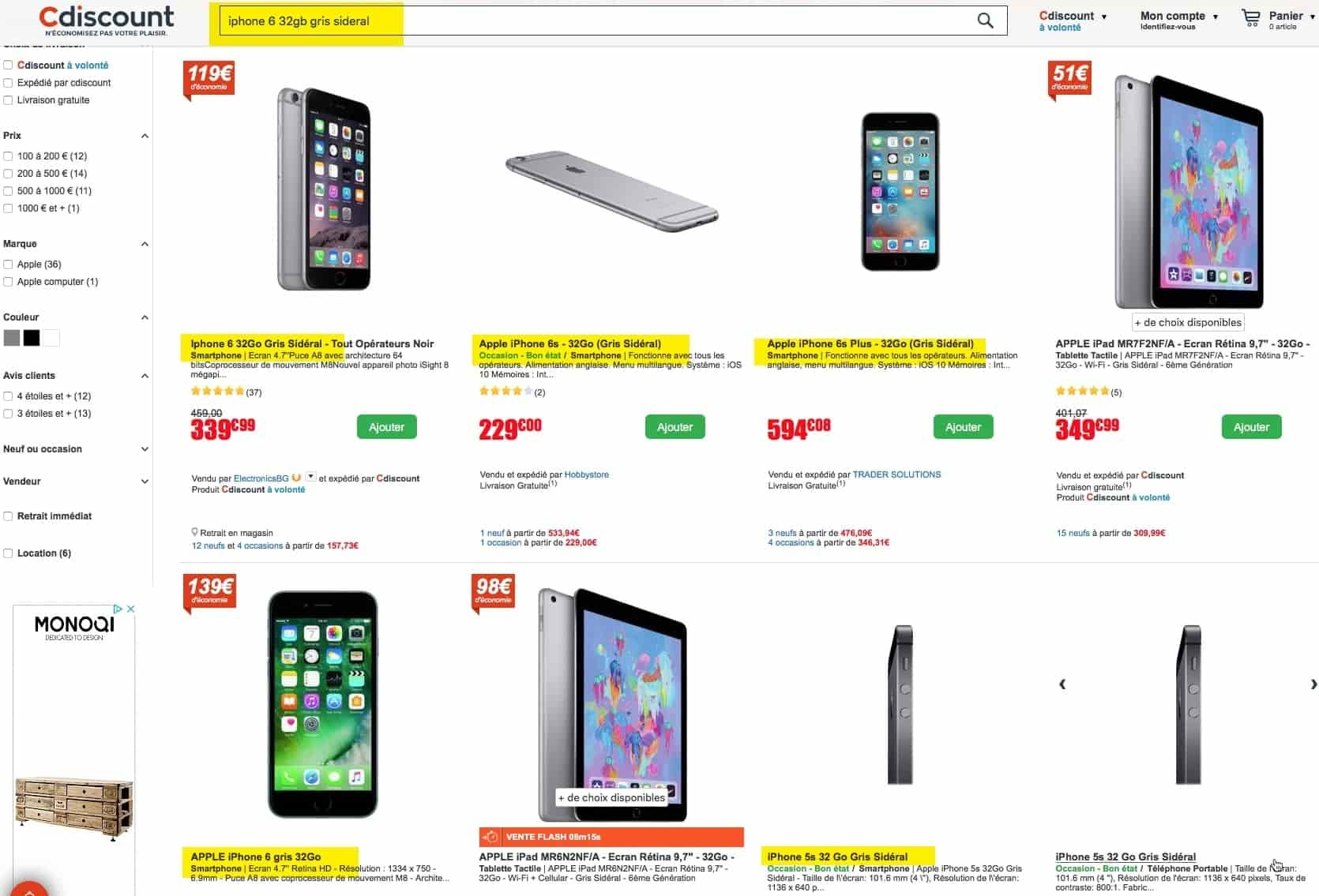 Screenshot du site de Cdiscount