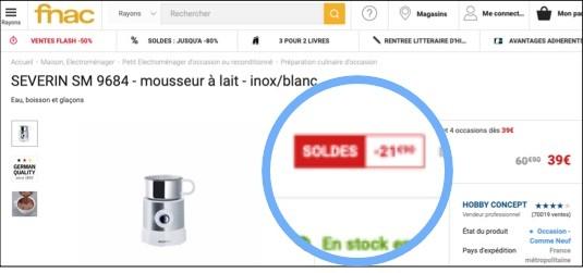 Fonctionnalité soldes Fnac
