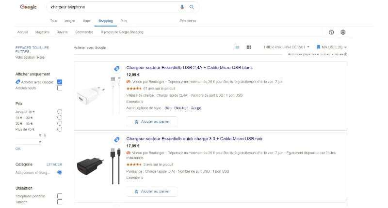 comparateur google shopping smartphone