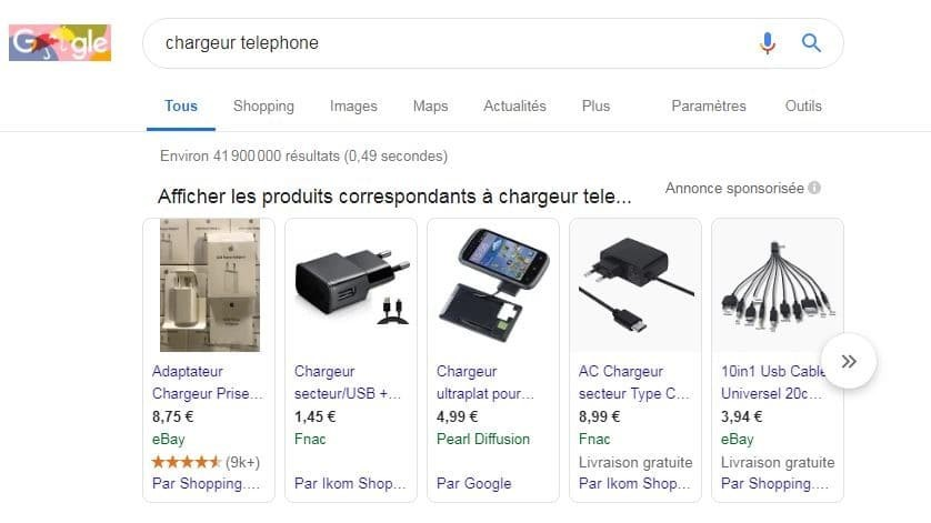 Google shopping search engine