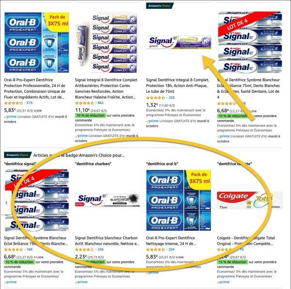 Amazon choice dentifrice